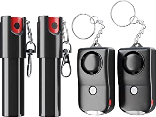 ARMADILLO DEFENSE Pepper Spray and Personal Alarm Key Chain Bundle (4 Pack) for Protection and Self Defense, Safeguard for...