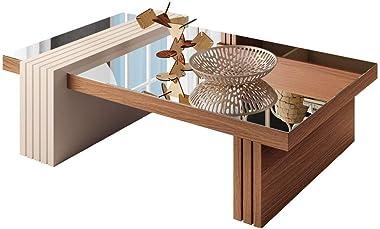 Mesa de Centro para Sala de Estar com Espelho Riad Nature/Off White - Gran Belo
