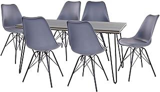 AltoBuy ASCA - Ensemble Table 180cm + 6 Chaises Haga Grises