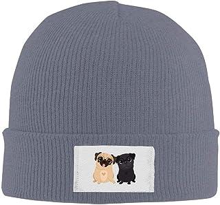 b494d28994a liu chunyans Unisex Pugs Dog Brother Cartoon Cute Warm Acrylic Knit Beanie  Hat Skull Cap