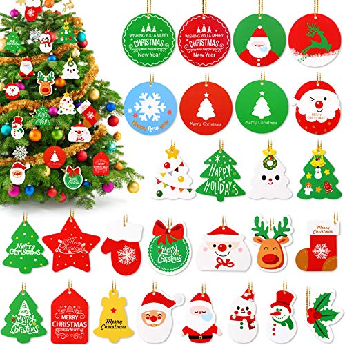 Konsait 140 Pieces Christmas Tags, 28 Styles Christmas Hanging Labels, with String, for Home Shop Xmas Tree Decoration, Christmas Holiday Present Wrap Stamp and Label Package Name Card