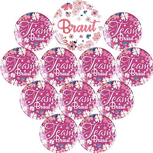 FLOFIA 12 Stück Braut Buttons Team Braut Buttons JGA Party Buttons Junggesellenabschied Buttons Hochzeit Buttons JGA Accessoires Zubehör Brautaccessoires