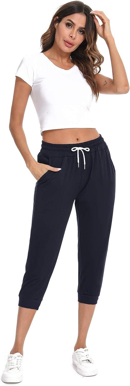 Sykooria Damen 3//4 Jogginghose Trainingshose High Waist Sporthose Yoga Hosen Freizeithose Sweathose Baumwolle f/ür Laufen Yoga Fitness