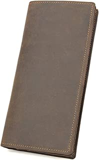 Business Stylish Wallets Men's Bifold Leather Long Wallet RFID Blocking Multi-Function Slim Credit Card Holder Coin Pocket Retro Fashion Gift Purse (Color : Brown)