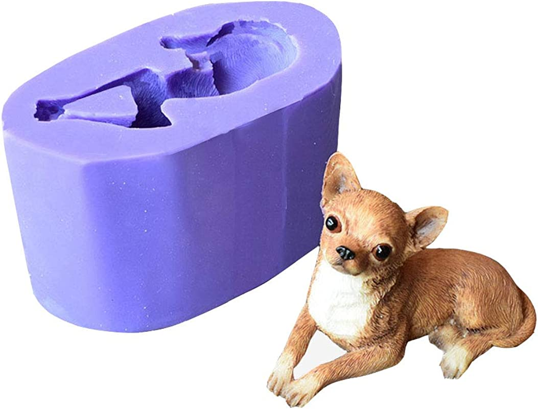 Runloo 3D Dog Molds Silicone Fondant Mousse Cake Chocolate Mold Puppy Dog Soap Mold Candle Mould