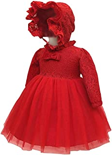 XFentech Baptism Dress - Girls Cute Dress Cotton Lined Long Sleeve Christening Dress,Red,18M(13-18 Months)