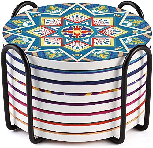 LIFVER Posavasos vasos de porcelana, Posavasos de cerámica estilo Bohemia con soporte, posavasos de 10 cm para bebidas con fondo de corcho, decoración oriental, paquete de 8
