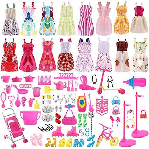 ASANMU 130 Pezzi Vestiti e Accessori per Bambole Dolls, Abito per Dolls Gonna Moda Scarpe Oggetto Rosa Grucce per Bambole Dolls Accessori per della Ragazza Compleanno Regalo Natale Giorno dei Bambini