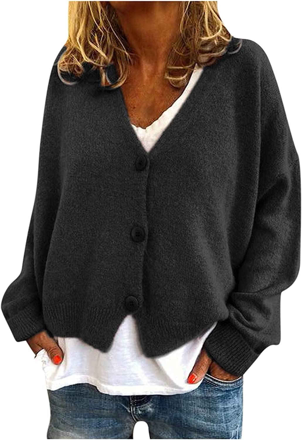 YfiDSJFGJ Knitted Sweaters for Women Long Sleeve Solid Color Knitted V-Neck Buttons,Pullover Sweaters Tops
