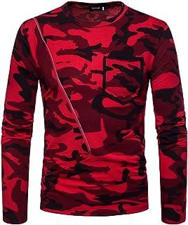 Qitun Camiseta de Manga Larga para Hombre Estilo Militar Slim Transpirable Casual Tops Sudaderas
