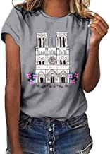 WYTong Summer t-Shirt For Women Commemorates Notre Dame Printed Short-Sleeved t-Shirt Casual Sports Top