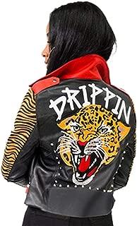 HOMELEX Women's Faux Leather Motorcycle Jacket PU Slim Leopard Studded Short Biker Coat