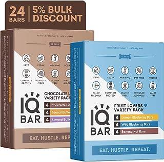 IQBAR Brain + Body Protein Bars, Chocolate + Fruit Variety, Keto, Vegan, Paleo Friendly, Low Sugar, Low Net Carb, High Fiber, Gluten Free, No Sugar Alcohols, 24 Count