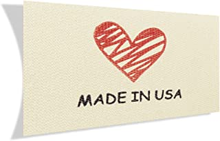 Wunderlabel Made in USA Cotton Label Crafting Craft Art Fashion Classic Ribbon Ribbons Tag Clothing Sewing Sew Clothes Garment Fabric Material Embroidered Tags, Black and Red on Cream, 50 Labels