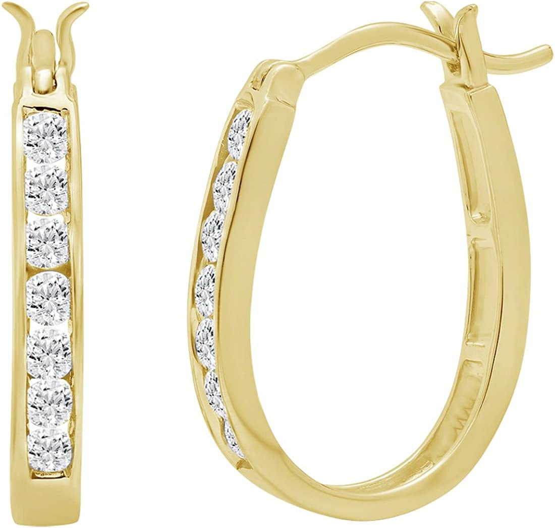 AGS Certified 1/2ct TW Oval Shaped Diamond Hoop Earrings for Women Crafted in 10K Gold
