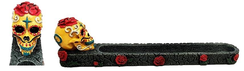 微弱課す是正Dias De Los Muertos Day of the DeadレッドイエロースカルIncense Burner Sculpture