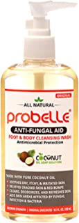 Probelle Anti-Fungal Aid – Antifungal Body Wash and Soap from Pure Coconut Oil with Antimicrobial Protection – Athletes Foot Treatment and Yeast Infection Treatment – 9.5 Oz / 280 ml