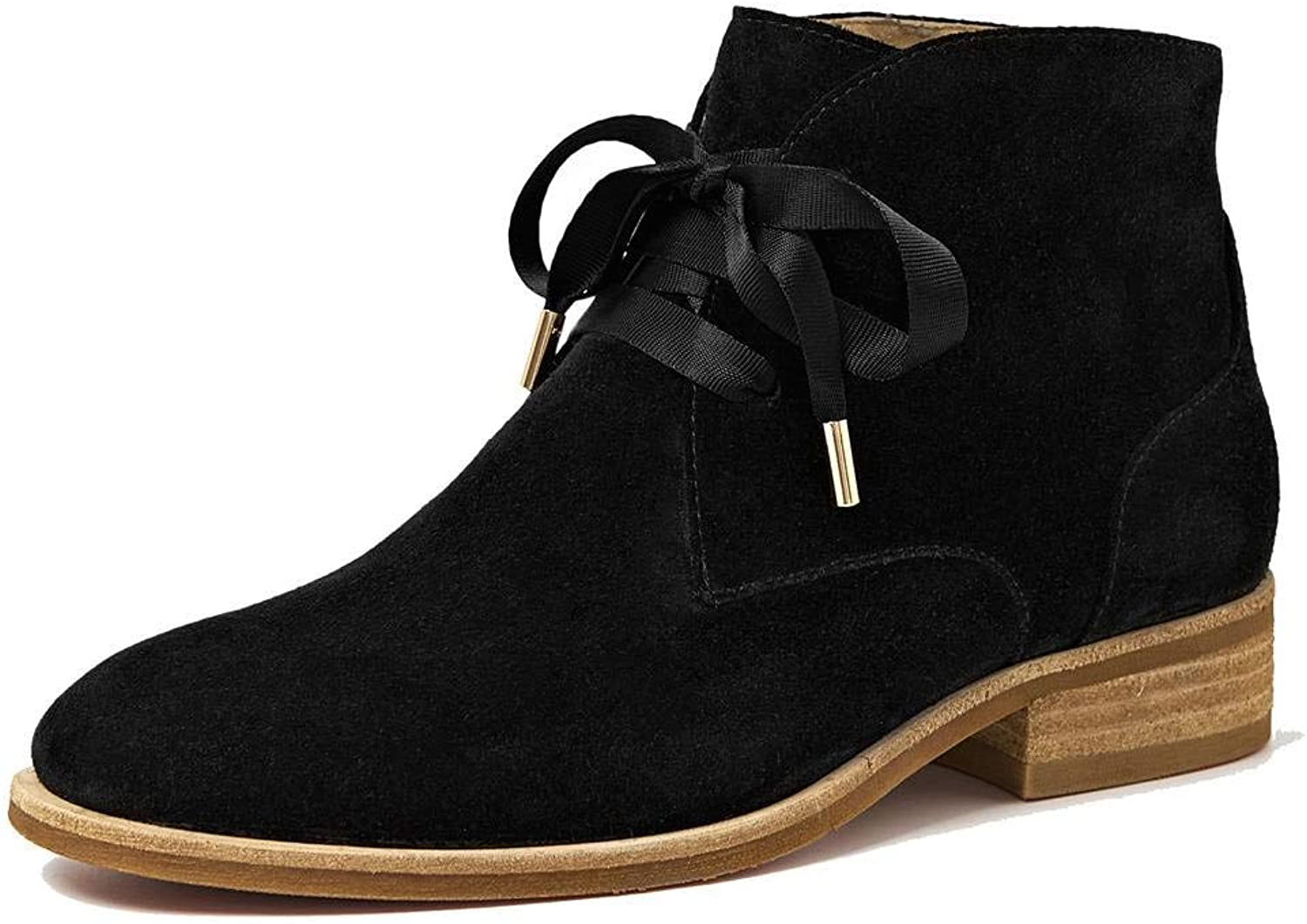 U-lite Womens Fall Winter Satin Lace Up Decoration Chukka Ankle Boots