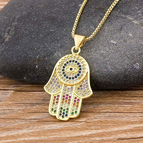 FACAIBA Necklace DropshippingEvil Eye Necklace for Women Collar Colorful Palm Fatima Necklace Best Party Birthday Jewelry Gift