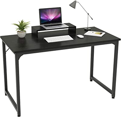 Mo.tools 47 Inch Computer Desk Sturdy Office Desks with Monitor Stand, Laptop Notebook Study Writing Table for Home Office, Workstation, Bedroom, Black