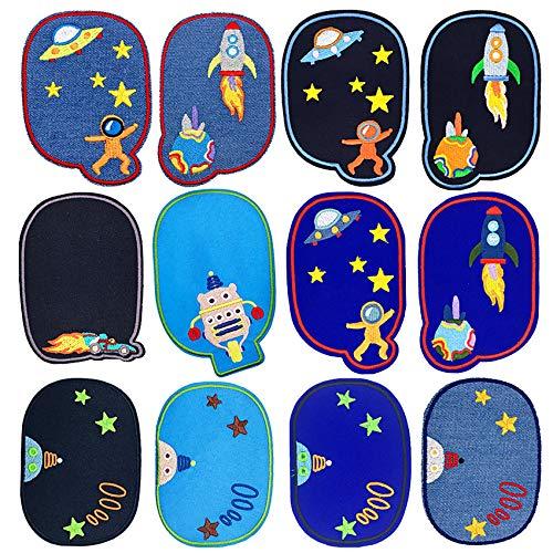 Bügelflicken Kinder, 12 Stück Patches zum Aufbügeln Universum Aufnäher Applikation Flicken Zum Aufbügeln für DIY T-Shirt Jeans Kleidung Taschen,Flicken Patches