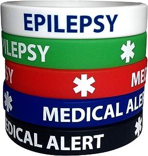 أساور سيليكون طبية من إيبيليبسي، (5 قطع) أساور معصم مقاس البالغين للرجال والنساء 7.8 بوصة
