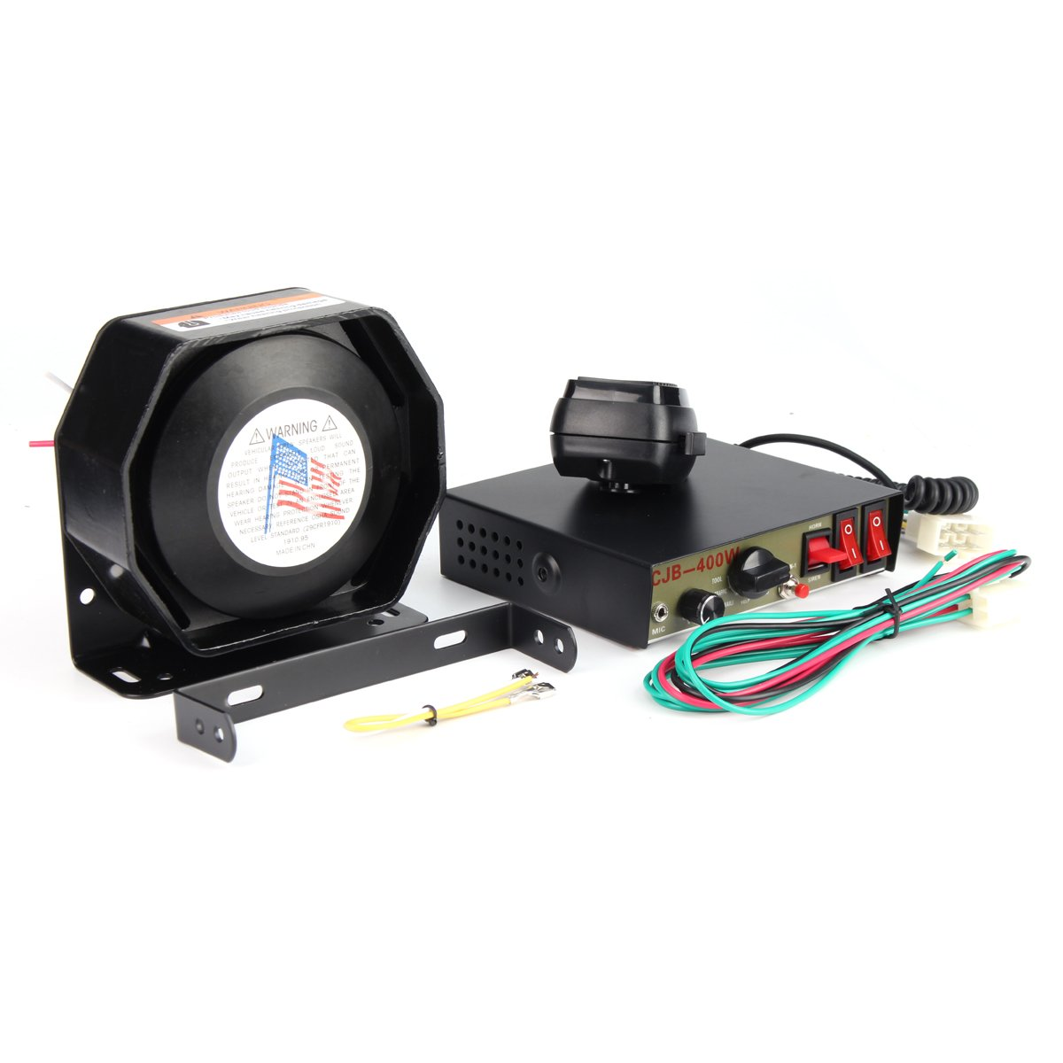 400W 8 Sound Loud Car Warning Alarm Police Fire Siren Horn PA Speaker MIC System