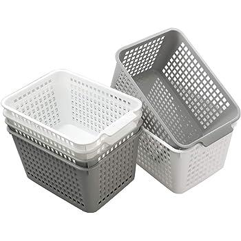 Rinboat Cesta Cesto de Almacenamiento de Plástico para Oficina, Color Blanco y Gris, 6 Unidades: Amazon.es: Bricolaje y herramientas