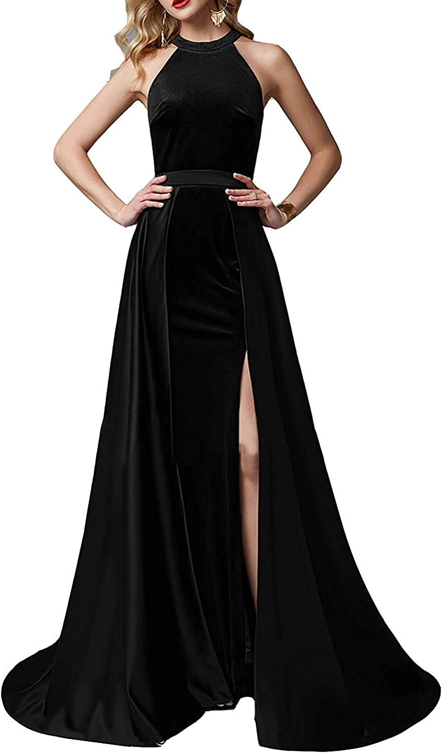 Sulidi Womens Long Halter Mermaid Prom Dresses with Detachable Velvet Train Formal Evening Party Dress C127