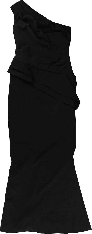 Ralph Lauren Womens One Shoulder Gown Dress, Black, 4