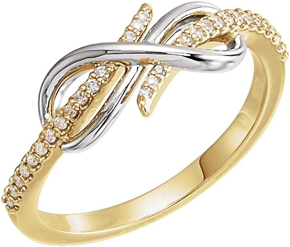 Solid 14k White Milwaukee Mall and Yellow New arrival Gold Two 10 Tone Cttw 1 Infin Diamond