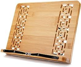 XL Large Size Bamboo Book Stand Cookbook Holder Reading Desk Bookrest with 5 Adjustable..