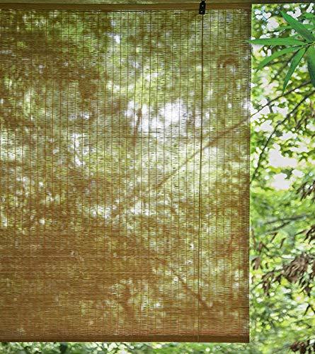 JLXJ Hogar y Cocina Sombras de Rodillos de Filtrado de Luz, Bambú Natural Pérgola de Patio Exterior Persianas Verticales con Accesorios de Gancho, 60cm/80cm/100cm/120cm/140cm/160cm de Ancho