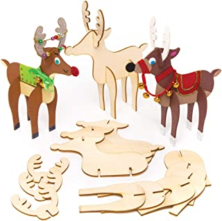 Baker Ross Wooden Reindeers, Christmas Arts and Crafts (Pack of 6)