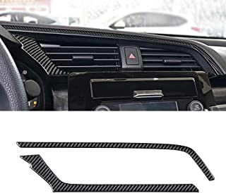 MICOOS Replacement for Carbon Fiber Central Control Wind Outlet Cover for Honda Civic 2016 2017 2018 2019 2020(2Pcs Black)