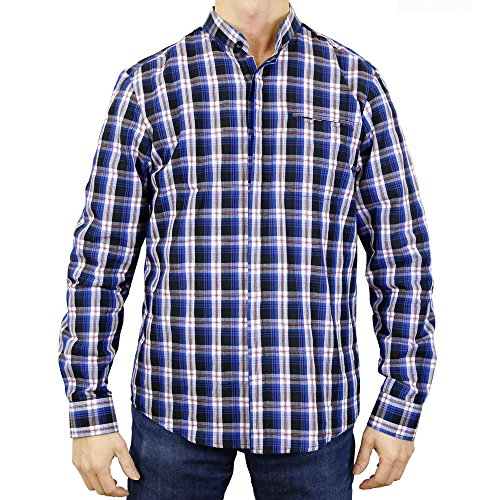 Sinologie Chemise col Mao boutonné à Carreaux en Coton Bleu (L)