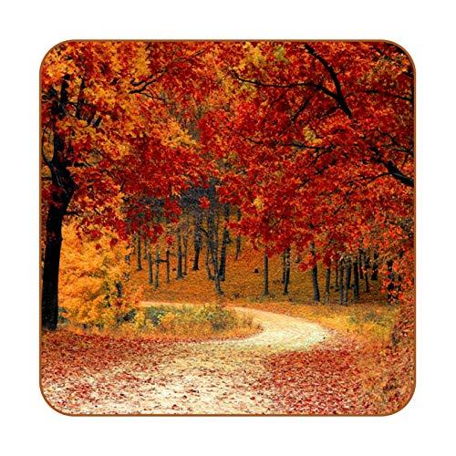 Posavasos de piel sintética para bebidas, diseño de hojas de arce para otoño, 6 unidades, cuadrados para bebidas, tazas para colocar en casa o bar, regalo de inauguración de la casa