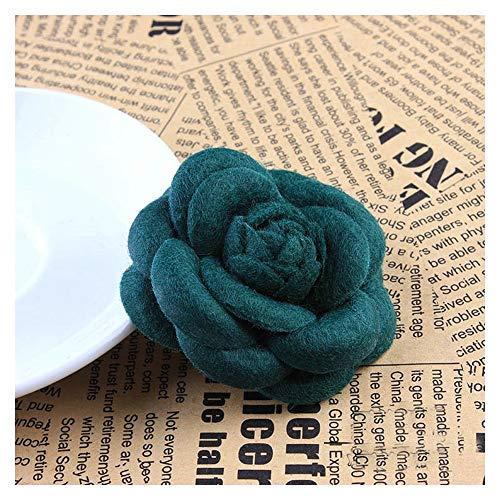 KAERMA Broche de alta gama de moda coreana con lazo de flores de tela, para bufandas de seda, broche de hebilla para ropa de mujer, accesorios decorativos (tamaño: flor verde oscuro)