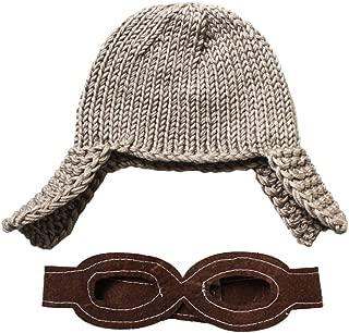 Baby Knitted Pilot Cap Beanie Aviator Crochet Earflap Hat (Blue)