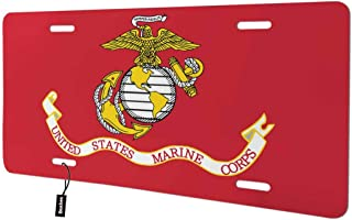 Beabes USA Marine Corps Front License Plate Cover,USMC with Bald Eagle Anchor Decorative License Plates for Car,Aluminum Novelty Auto Car Tag Vanity Plates Gift for Men Women 6x12 Inch