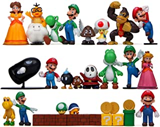 BeautySha 32 pcs Super Mario Action Figure Toy Super Mario Bros Figurines Peach Princess DIY Onaments Decoration Collection
