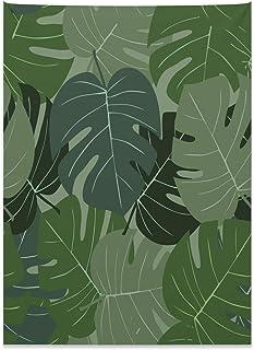 ABAKUHAUS Bosque Verde Tapiz de Pared y Cubrecama Suave, Camo Hojas De Palma, Estampado Digital Vívido, 110 x 150 cm, Verde Salvia Verde Pálido