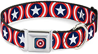 Buckle-Down Seatbelt Buckle Dog Collar - Captain America Shield Repeat Navy - 1