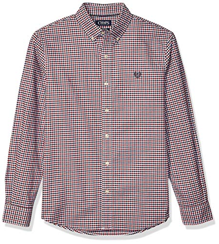 Chaps Men's Long Sleeve Stretch Oxford Button Down Shirt, Park Avenue Red Multi, XXL