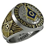Uniqable Ancient Free and Accepted Masons A.f.a.m Masonic Sterling Silver 925 Mason 18k Gold Plated Freemason Ring Ktr010 (10.5)