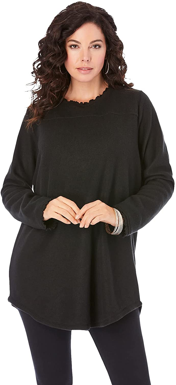 Roaman's Women's Plus Size Sherpa Tunic Fleece Long Sleeve Shirt