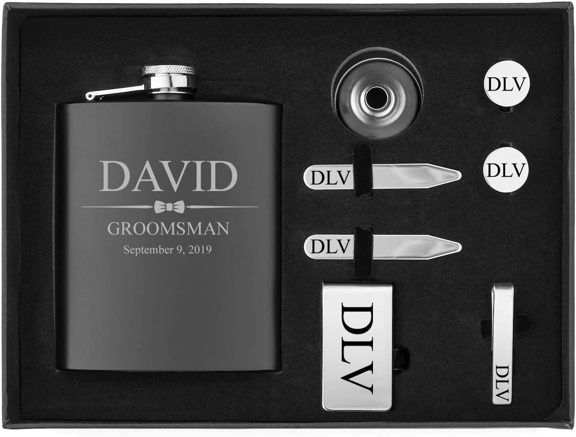 Engraved 7oz Flask, Funnel, Money Clip, Tie Bar Clip, Round Cuff Links, Collar Stays Set Gift Box Set Wedding Bow Tie Personalized