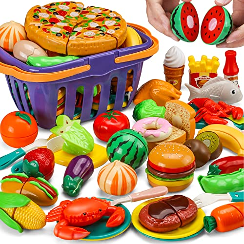 42 Items 87 Pcs Cutting Play Food Toy for Kids Kitchen Set,Pretend Cooking Fruit &Vegetables&Fast Food with Storage Basket,Fake Food for Toddler&Baby,Educational Gift for Girls Boys Children Birthday
