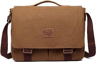 Women and Men Messenger Bag Canvas Shoulder Bag Cross Body Bag (Brown)