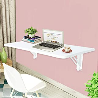 LiangDong Wall Mounted Floating Folding Computer Desk 66lbs Weight Capacity Wooden Table WhiteHome Office PC Table (White)